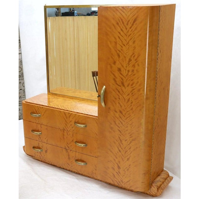 Brown French Art Deco Chifforobe Dresser With Mirror Closet Cabinet Tiger Maple For Sale - Image 8 of 13