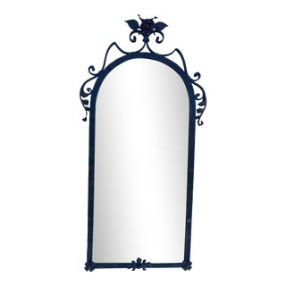 Artdeco From 1930's Wrought Iron Mirror With Ornamental Details For Sale