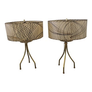 Gerald Thurston Brass Tripod Base Table Lamps - a Pair For Sale