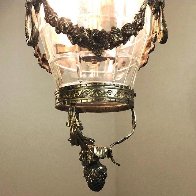 Antique Bronze & Crystal Lantern Chandelier For Sale - Image 4 of 12