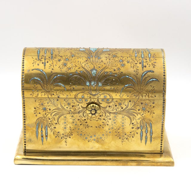 Rare Solid Brass Stationery Box Inlaid With Turquoise and Garnets, France, Circa 1860. For Sale - Image 9 of 11