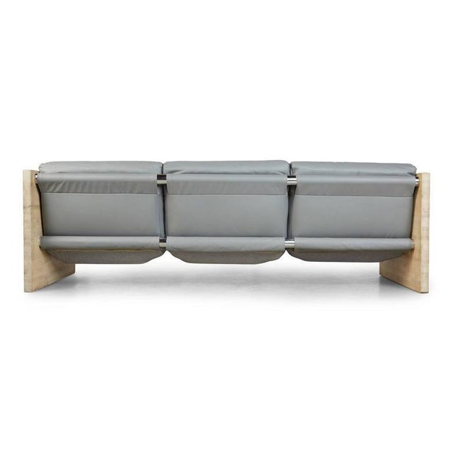 Milo Baughman Style Gray Leather and Oak Sling Sofa, Circa 1970 - Image 3 of 7