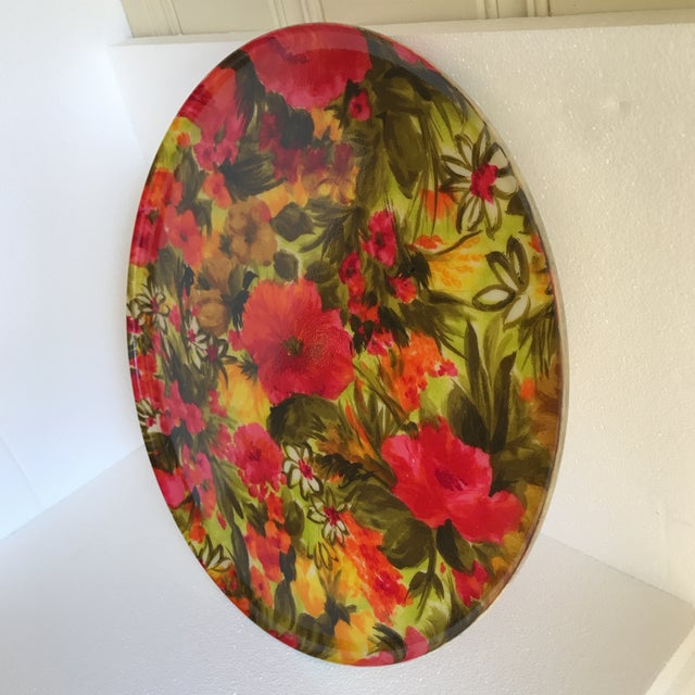 Mid-Century Floral Acrylic Serving Tray - Image 5 of 8