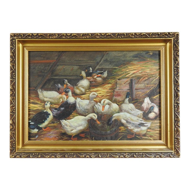 Antique Duck Oil Painting For Sale