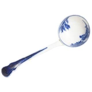 Porcelain Punch Ladle, Antique English Flo Blue For Sale