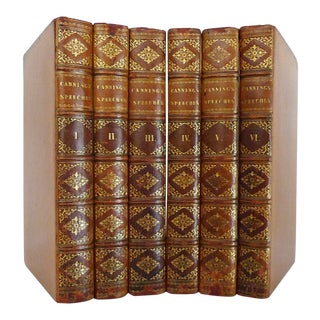 Early 19th Century Decorative Leather Volume Set, Therry's the Speeches of the Right Honorable George Canning. With a Memoir of His Life - 6 Books For Sale