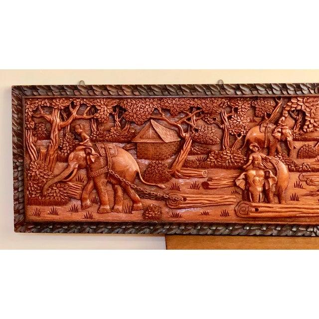 Wood Large Vintage Wall Sculpture 3d Hand Carved Relief Teak Panel For Sale - Image 7 of 13