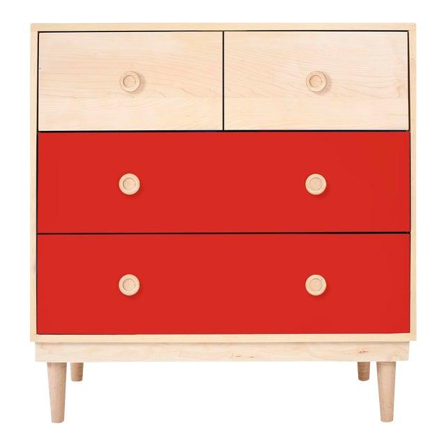 Nico & Yeye Lukka Modern Kids 4 Drawer Dresser Maple Red For Sale