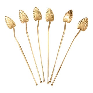 Sterling Silver Ice Tea Straw Spoons - Set of 6 For Sale