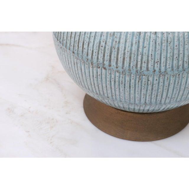 1960s Vintage Blue Ceramic Lamp For Sale - Image 5 of 7