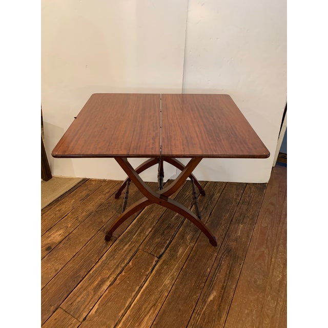 Versatile Campaign Style Mahogany Side or Dining Table For Sale - Image 13 of 13