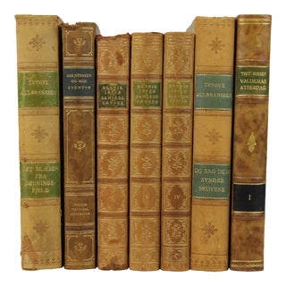 Art Deco Leather Bound Books- Set of 7 For Sale