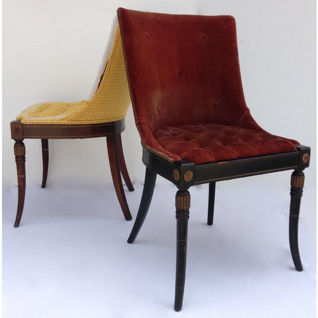 Vintage; Origina Maison Jansen side or accent chairs, of mahogany, dried kiln wood frame structures with flared legs. One...