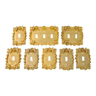 1970s Hollywood Regency Gold Plated Cherub Switch Plates - Set of 8 For Sale