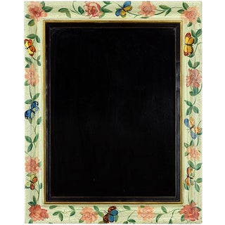 White Floral Painted Wall Mirror For Sale