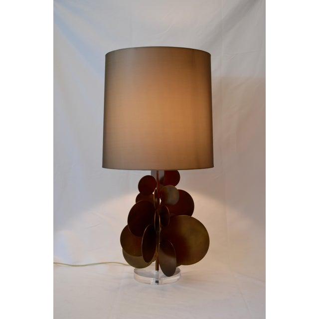 Brass Modern Arteriors Home Brass Disc Lamp With Brown Shade For Sale - Image 7 of 7