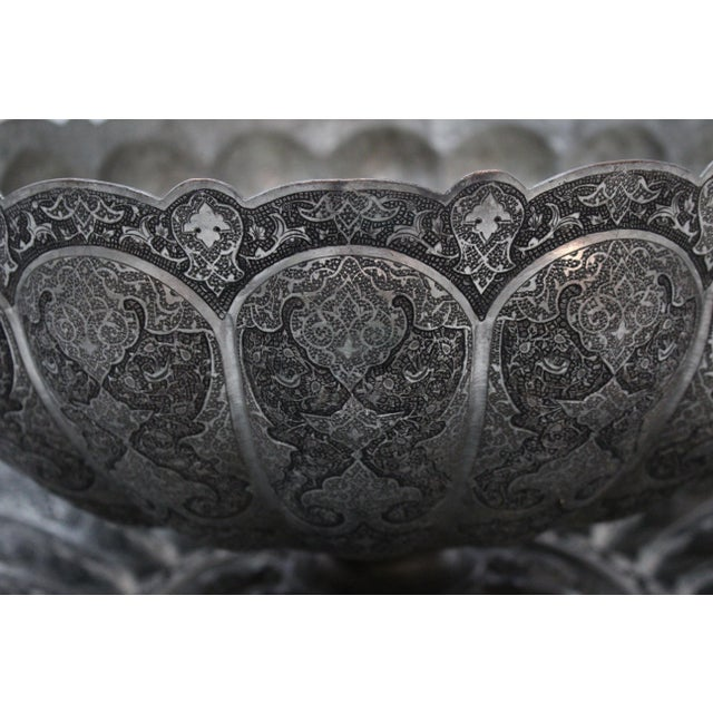 Persian Engraved Ghalam Zani Punch Bowl For Sale - Image 7 of 9