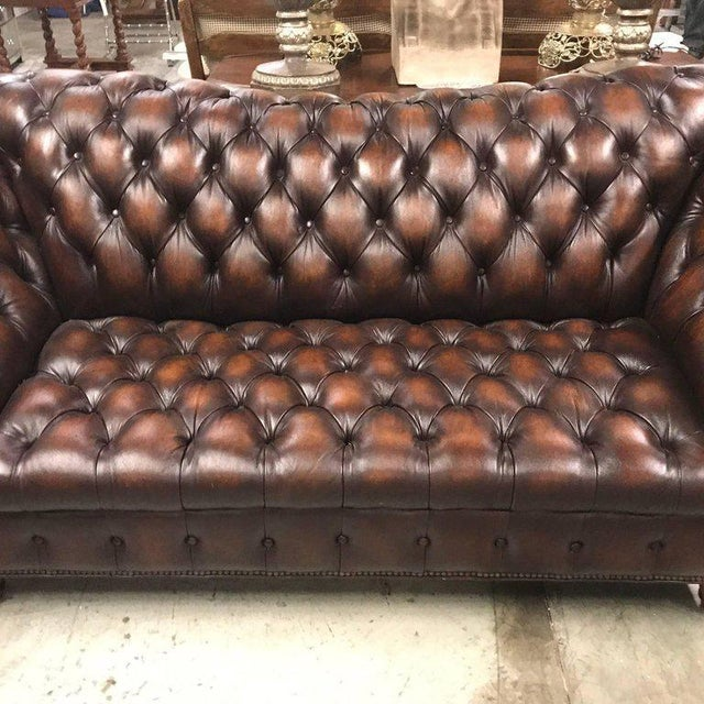 Mid-Century Modern Sumptuous Leather Chesterfield Sofa With Rolled Arms For Sale - Image 3 of 13