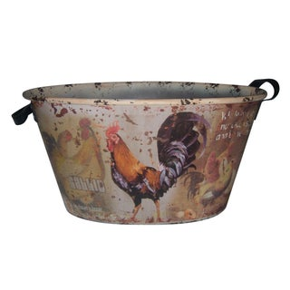 Country Rooster Tin with Leather Handles For Sale