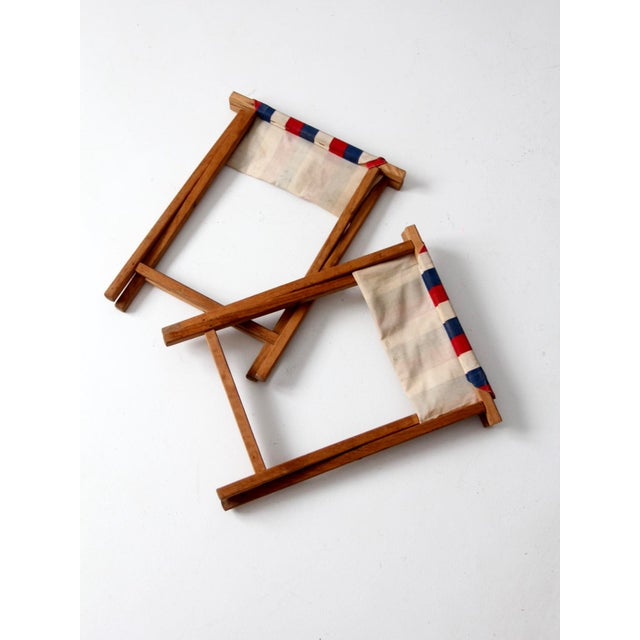 Canvas Vintage Striped Camp Stools - Set of 2 For Sale - Image 7 of 10