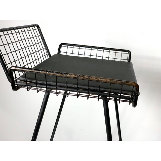 Black 1960s Vintage Tony Paul Iron Wire Counter Bar Stool For Sale - Image 8 of 11