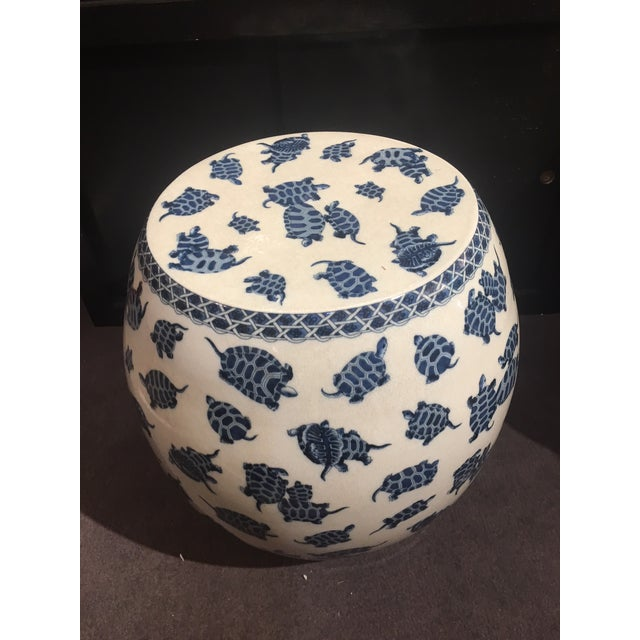 Blue & White Crackle Finish Garden Stool For Sale - Image 4 of 5