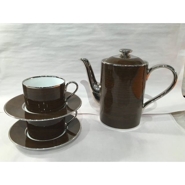 Marc Blackwell Mahogany Coffee Pot & 2 Coffee Cups - Image 2 of 7