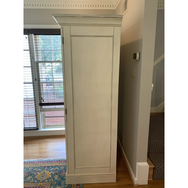 Shabby Chic Pottery Barn Charlotte Armoire in Antique White For Sale - Image 3 of 10