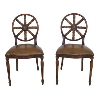Vintage Theodore Alexander Carved Back Leather Side Chairs - A Pair For Sale