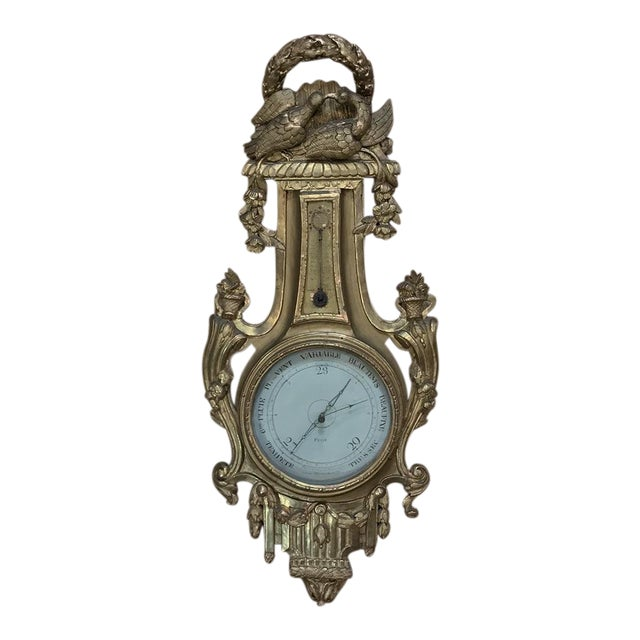 18th Century Giltwood Hand Carved Barometer - Thermometer For Sale