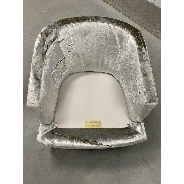 Metal Restored Velvet Swivel Barrel Chair by Founders For Sale - Image 7 of 9