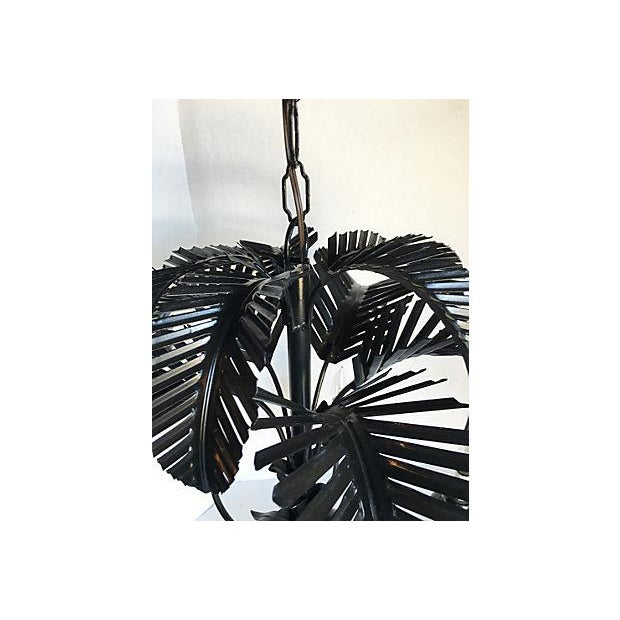 Tole Palm Tree 6-Arm Chandelier - Image 6 of 8