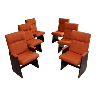 Set of 6 Brutalist Dining Chairs by Lane For Sale