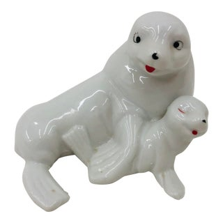 Vintage Porcelain Seal Pup & Pop For Sale
