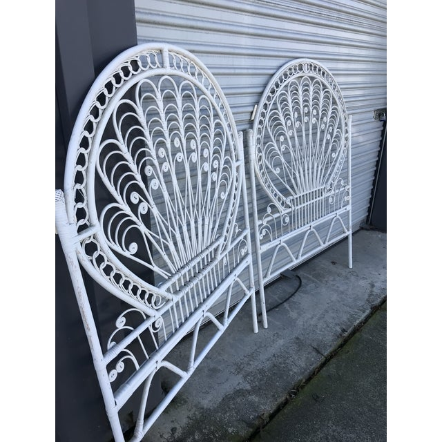 Vintage White Wicker Twin Headboards - a Pair For Sale In San Francisco - Image 6 of 8