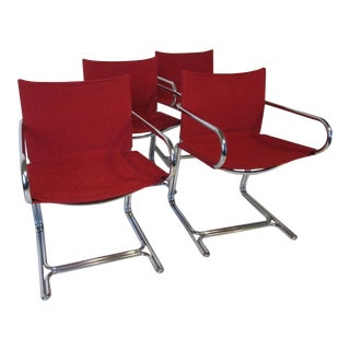 1970's Chrome Upholstered Dining Chairs - Set of 4 For Sale