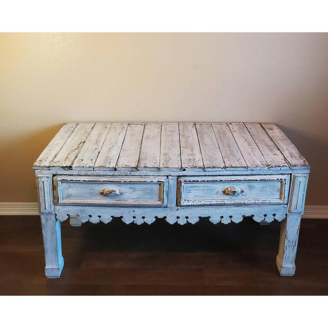 Antique Distressed Painted Plank Top Console Table For Sale - Image 11 of 11