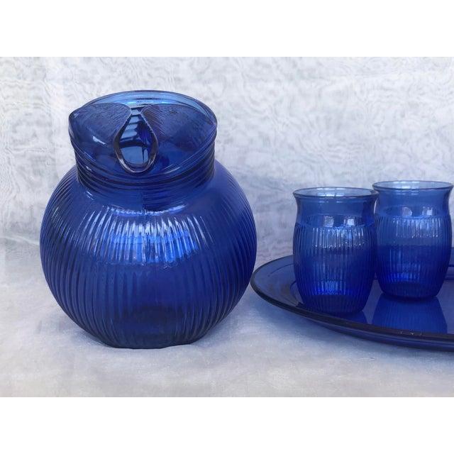 Vintage Cobalt Blue Glass Lemonade Set- 6 Pieces For Sale - Image 11 of 13