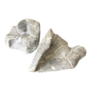 Artist Signed Paper Mache Typography Bowl Sculptures -A Pair For Sale