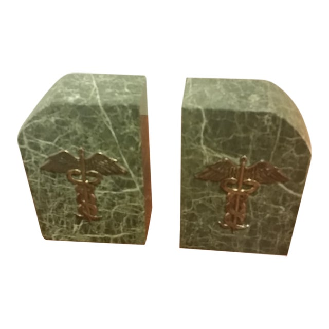 Vintage Bey-Berk Marble Medical Profession Bookends - a Pair For Sale