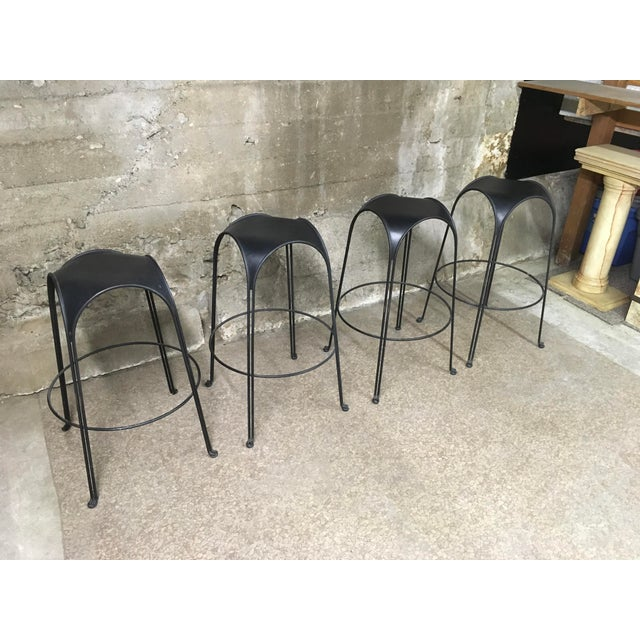 1980s Modern Iron Barstools With Black Leather Tops- Set of 4 For Sale - Image 11 of 11
