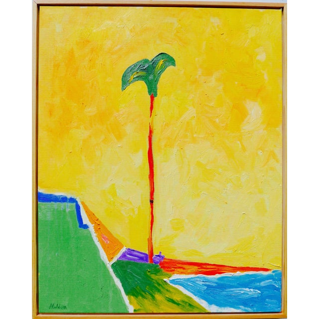 Bright, contemporary plein air oil on canvas landscape of a palm tree in the breeze on a California beach. Soft glowing...