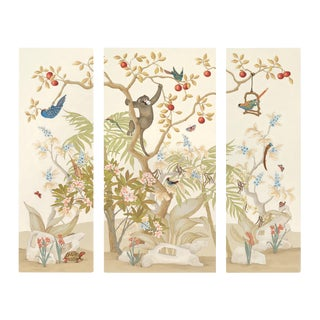Chinoiserie Triptych Paintings, A Jungle Gathering - 3 Pieces For Sale