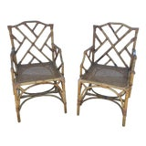 Image of Vintage Chippendale Style Bamboo Chairs - a Pair For Sale