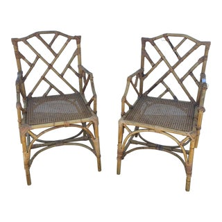 Vintage Chippendale Style Bamboo Chairs - a Pair For Sale