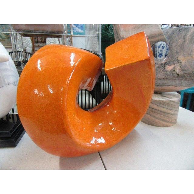 Modern Orange Stone Sculpture - Image 6 of 9