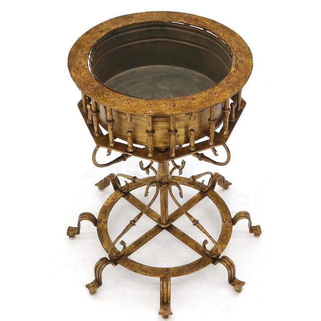 Gold Large Italian Wrought Iron Gold Gilt Planter For Sale - Image 8 of 13