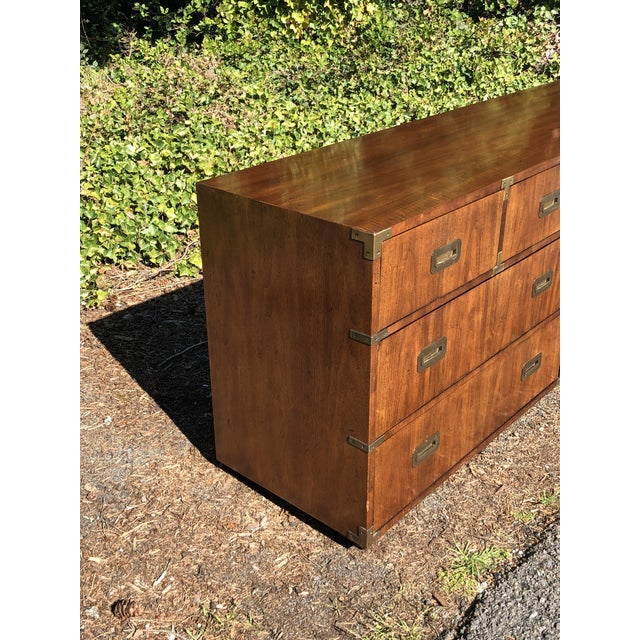 """A stunning campaign mid century stamped and branded """"Henredon"""" high quality triple dresser! It is compartmentalized,..."""