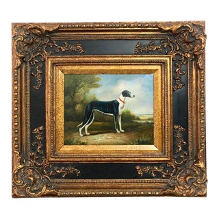 1960s Vintage Greyhound English School Style Painting For Sale