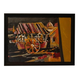 Vintage Mid-Century Robert Bolton Smith Signed French Cityscape Painting For Sale